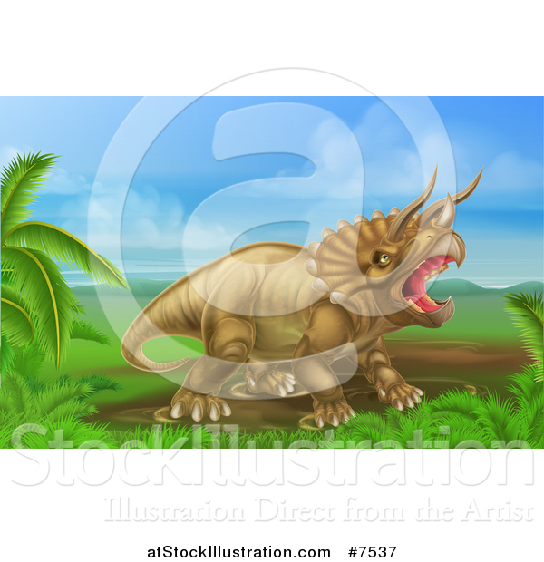 Vector Illustration of a 3d Roaring Angry Triceratops Dinosaur in a Landscape