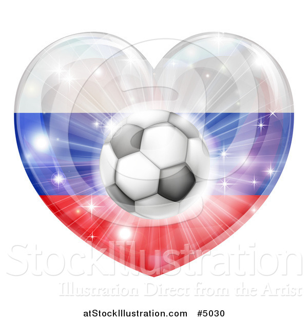 Vector Illustration of a 3d Russian Flag Heart and Soccer Ball