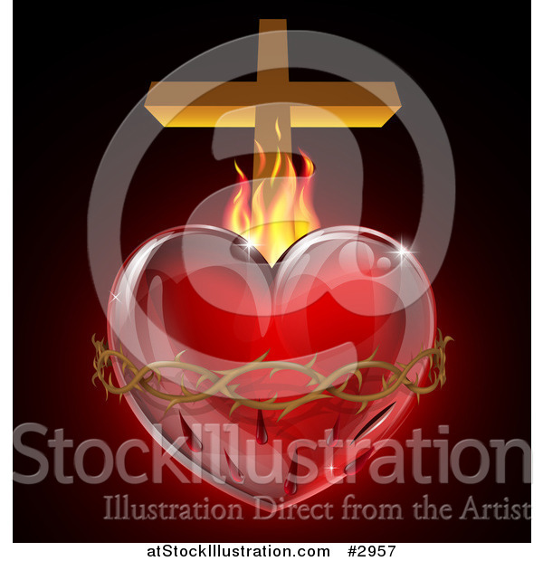Vector Illustration of a 3d Sacred Heart with Fire Thorns and a Cross