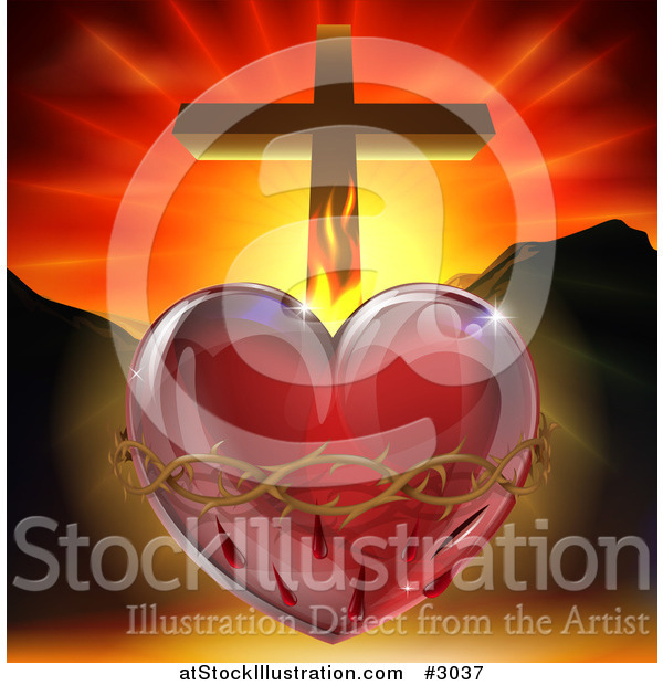 Vector Illustration of a 3d Sacred Heart with Fire Thorns Mountains and a Cross