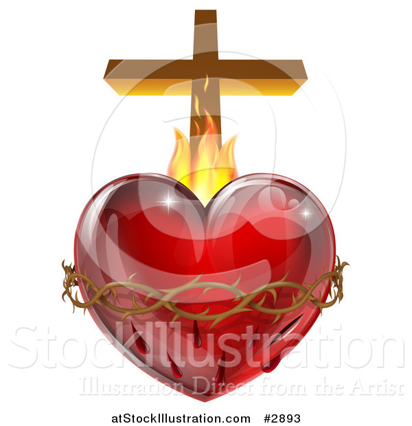 Vector Illustration of a 3d Sacred Heart with Flames Thorns and a Cross