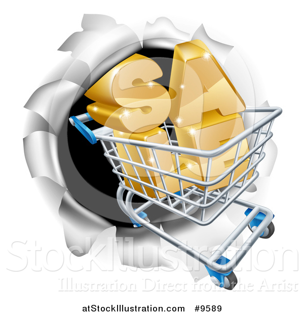 Vector Illustration of a 3d SALE Shopping Cart Breaking Through a Wall