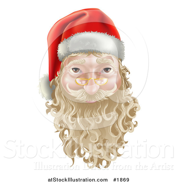 Vector Illustration of a 3d Santa Face Witha Blond Beard and Mustache