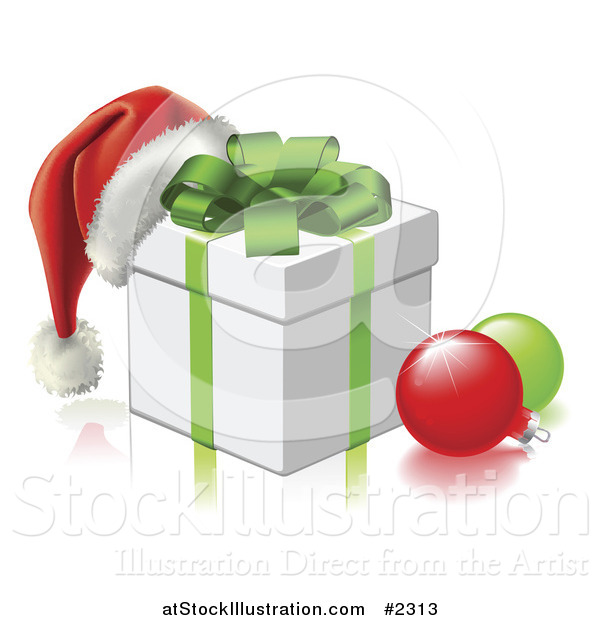 Vector Illustration of a 3d Santa Hat on a Gift Box with Baubles