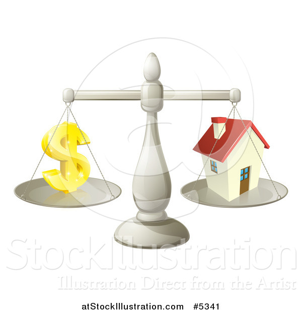 Vector Illustration of a 3d Scale Comparing a Dollar Currency Symbol and a House
