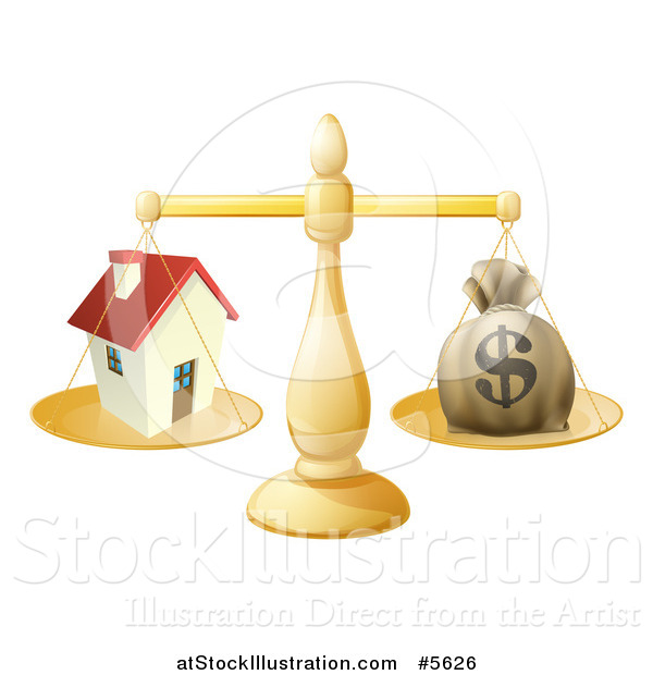 Vector Illustration of a 3d Scale Comparing a Dollar Money Bag and a House