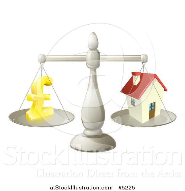 Vector Illustration of a 3d Scale Comparing a Pond Currency Symbol and a House