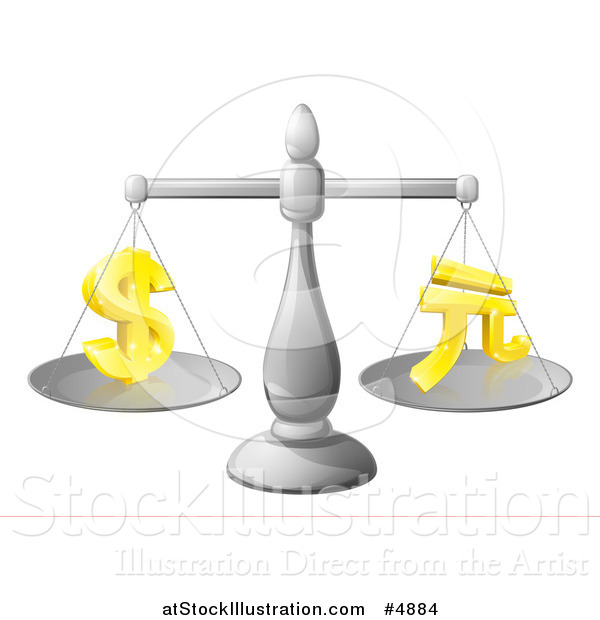 Vector Illustration of a 3d Scale Comparing the Dollar and Yuan