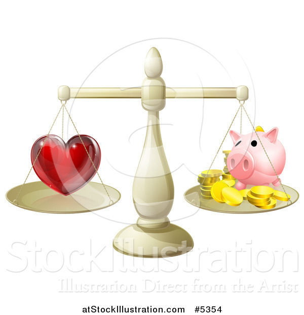 Vector Illustration of a 3d Scale Weighing Love and a Piggy Bank