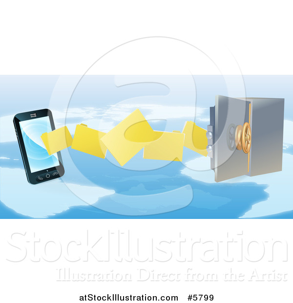 Vector Illustration of a 3d Secure Cell Phone Transfering Backup Files to a Safe over a Map