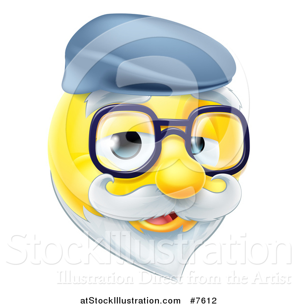 Vector Illustration of a 3d Senior Grandpa Yellow Smiley Emoji Emoticon Face Wearing Glasses and a Hat