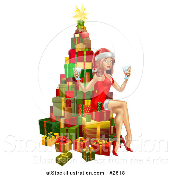 Vector Illustration of a 3d Sexy Christmas Pinup Woman Sitting with Drinks on a Tree of Gifts