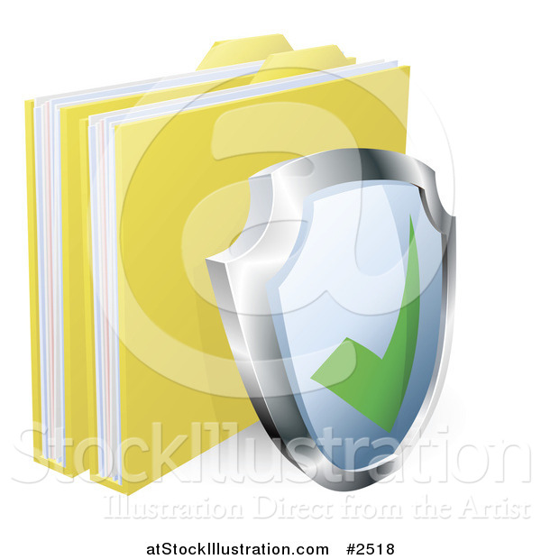 Vector Illustration of a 3d Shield and Protected Files