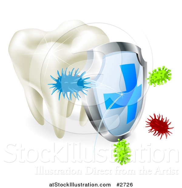 Vector Illustration of a 3d Shield Protecting a Human Tooth from Decay and Bacteria