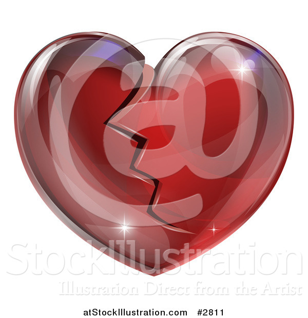 Vector Illustration of a 3d Shiny Broken Red Glass Heart