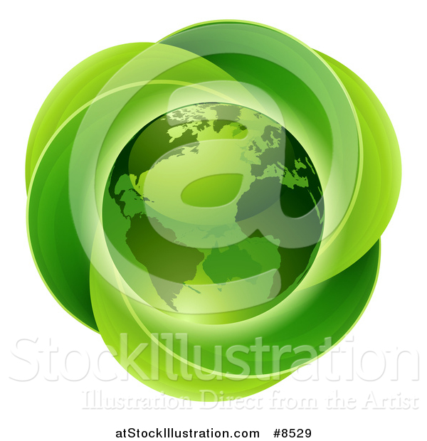 Vector Illustration of a 3d Shiny Earth Globe over a Circle of Leaves