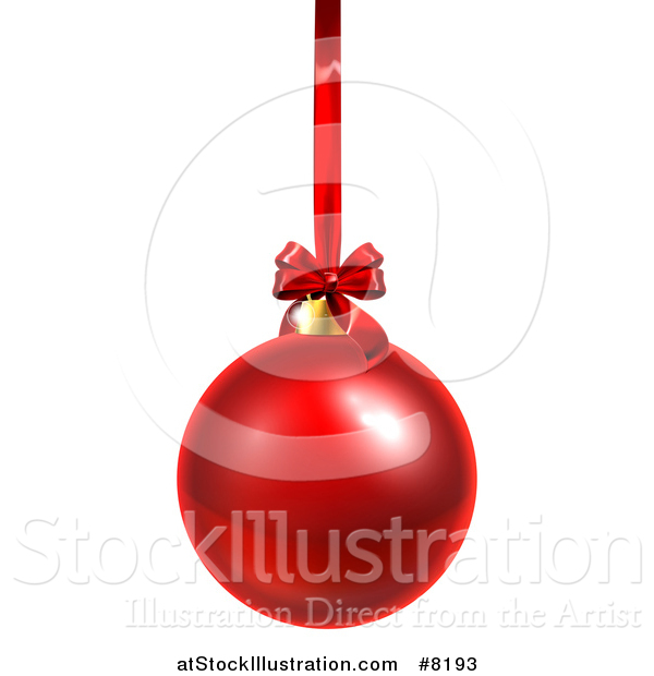 Vector Illustration of a 3d Shiny Red Christmas Bauble Ornament Hanging from a Ribbon