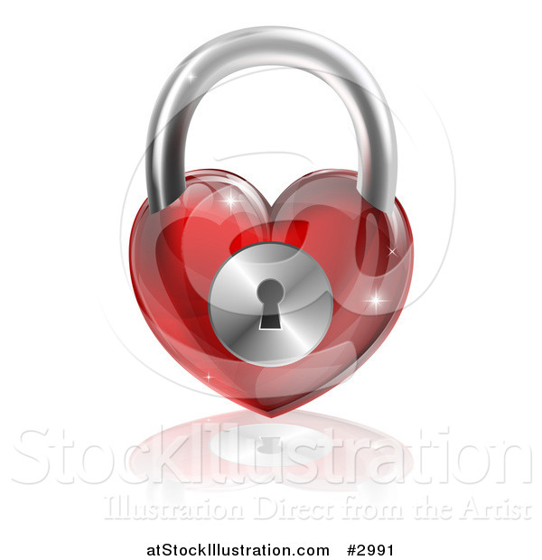 Vector Illustration of a 3d Shiny Red Heart Padlock and Reflection