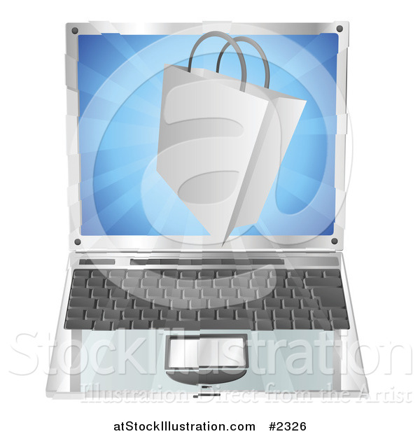 Vector Illustration of a 3d Shopping Bag over a Laptop