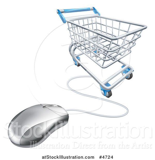 Vector Illustration of a 3d Shopping Cart and Connected Computer Mouse