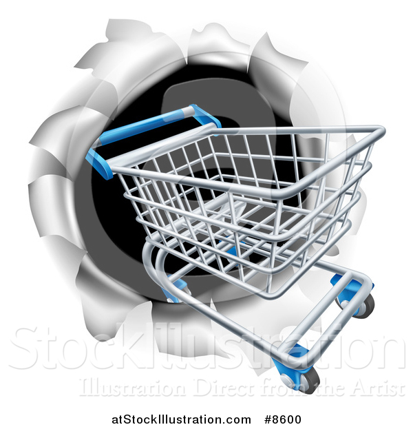 Vector Illustration of a 3d Shopping Cart Breaking Through a Wall