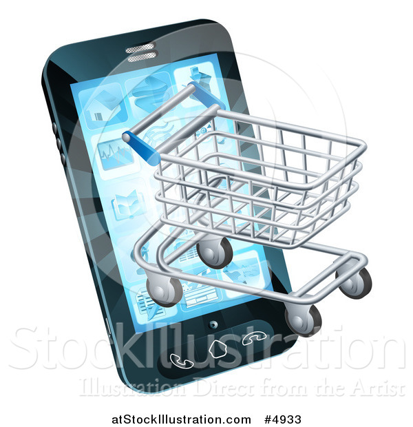 Vector Illustration of a 3d Shopping Cart Emerging from a Smart Phone Screen