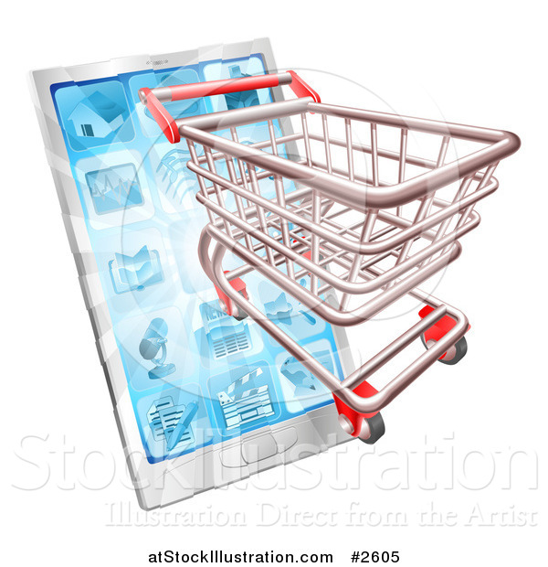 Vector Illustration of a 3d Shopping Cart Emerging from a Touch Screen Smart Phone