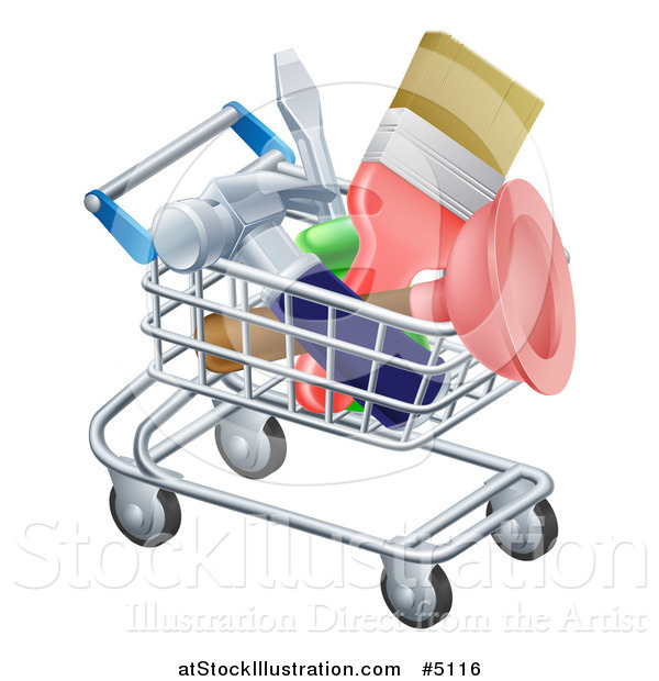 Vector Illustration of a 3d Shopping Cart Full of DIY Tools