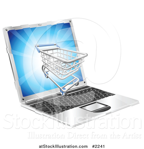 Vector Illustration of a 3d Shopping Cart on a Laptop Screen