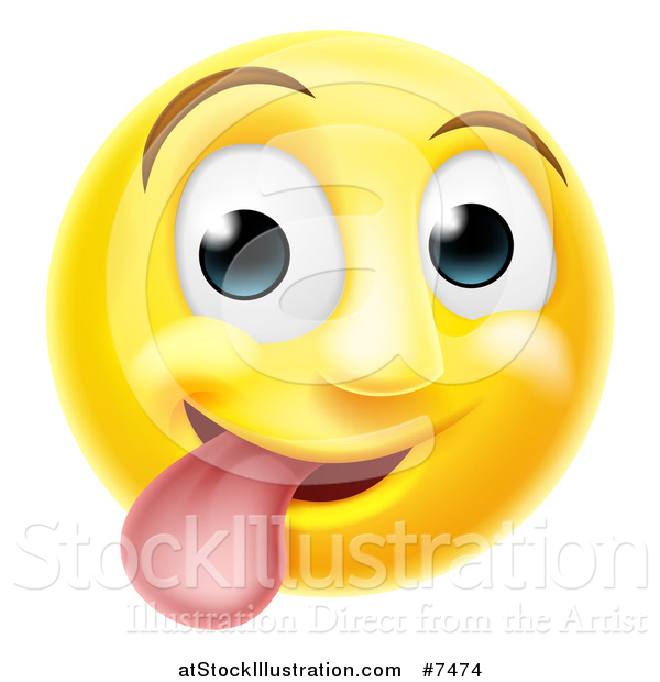 Vector Illustration of a 3d Silly Yellow Smiley Emoji Emoticon Face Sticking His Tongue out
