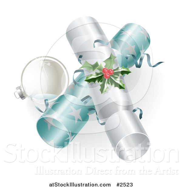 Vector Illustration of a 3d Silver Bauble and Christmas Crackers with Holly