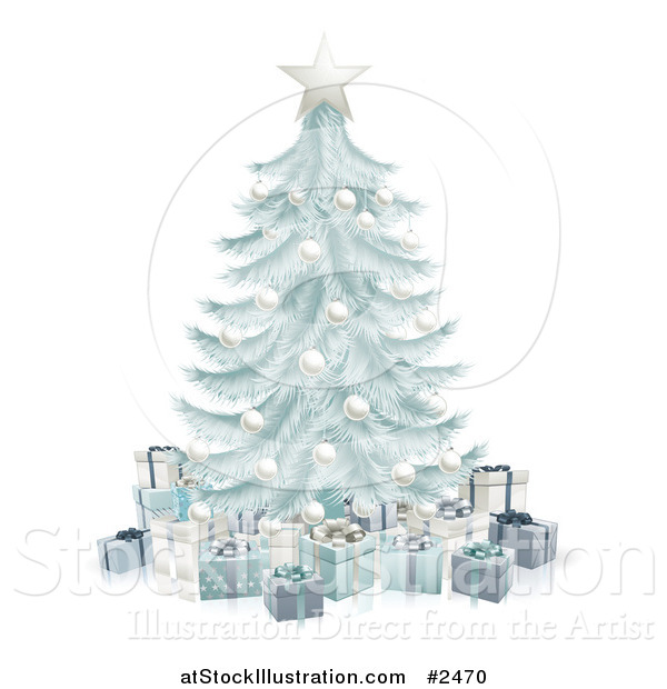 Vector Illustration of a 3d Silver Blue Christmas Tree with Gift Boxes