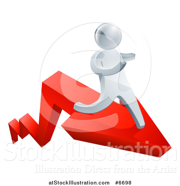Vector Illustration of a 3d Silver Business Man Running on a Red Arrow