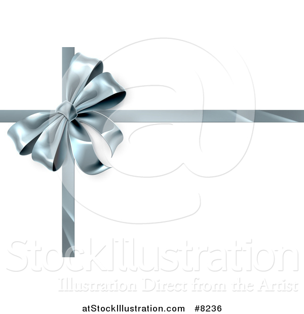 Vector Illustration of a 3d Silver Christmas, Birthday or Other Holiday Gift Bow and Ribbon on White