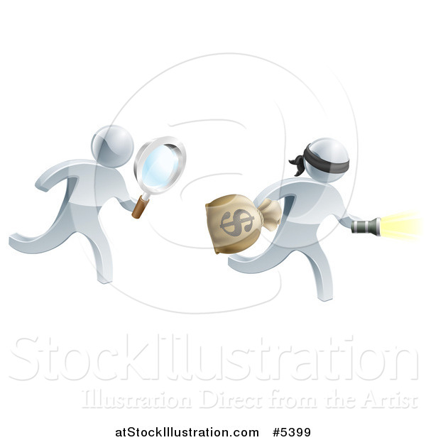 Vector Illustration of a 3d Silver Detective Chasing a Robber with a Magnifying Glass