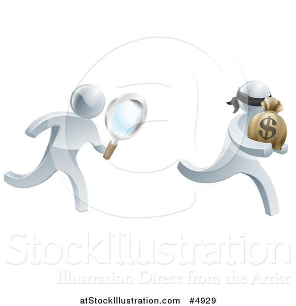 Vector Illustration of a 3d Silver Detective Chasing a Thief with a Magnifying Glass