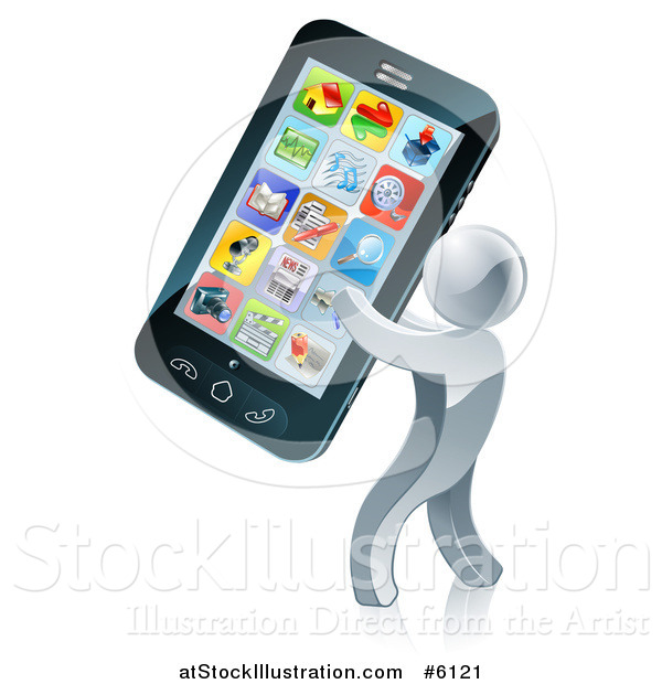 Vector Illustration of a 3d Silver Man Carrying a Giant Smart Phone