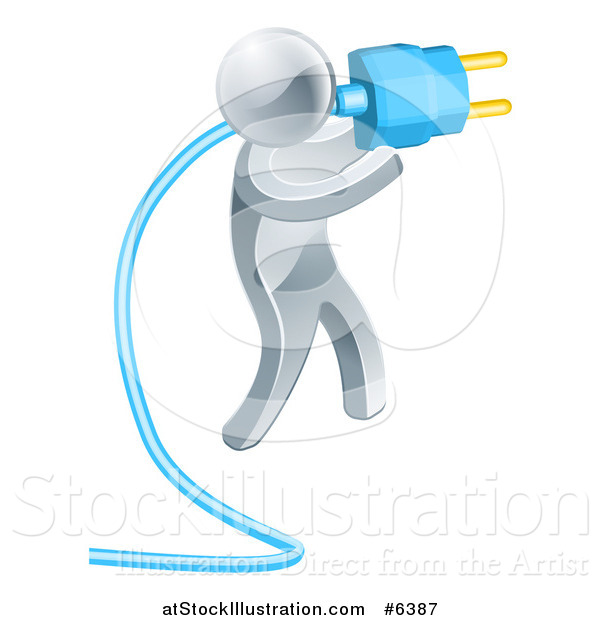 Vector Illustration of a 3d Silver Man Holding a Blue Electric Plug