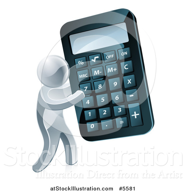 Vector Illustration of a 3d Silver Man Holding a Giant Calculator