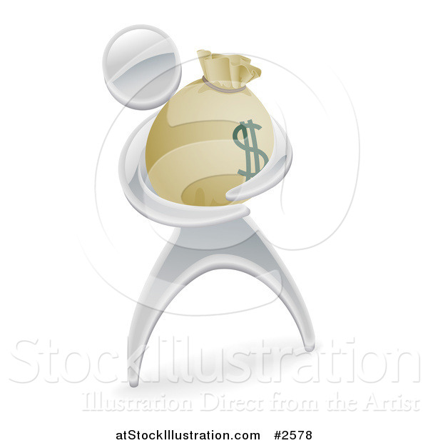 Vector Illustration of a 3d Silver Man Holding a Money Sack