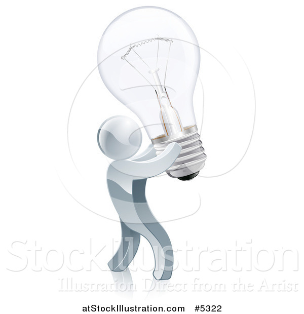 Vector Illustration of a 3d Silver Man Inventor Holding up a Light Bulb