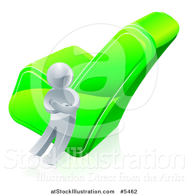 Vector Illustration of a 3d Silver Man Leaning Against a Green Check Mark