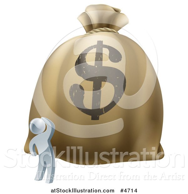 Vector Illustration of a 3d Silver Man Looking up at a Big Dollar Money Bag