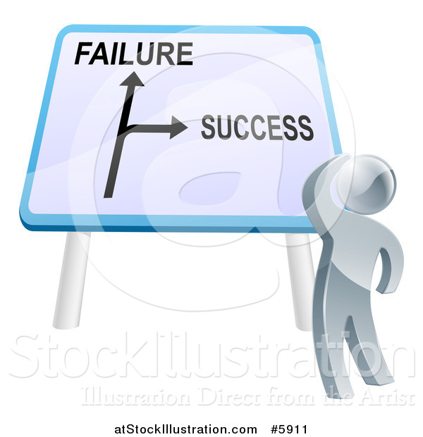 Vector Illustration of a 3d Silver Man Looking up at a Failure or Success Directional Sign