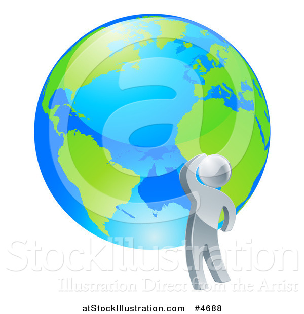 Vector Illustration of a 3d Silver Man Looking up at a Globe