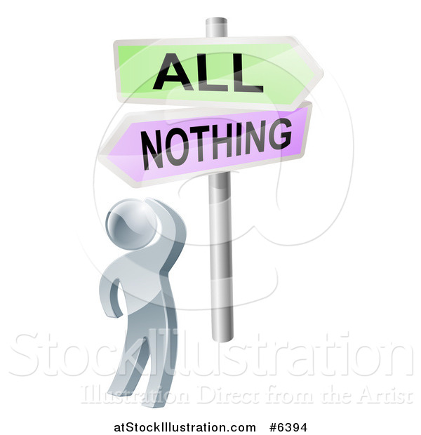 Vector Illustration of a 3d Silver Man Looking up at an All or Nothing Crossroads Sign