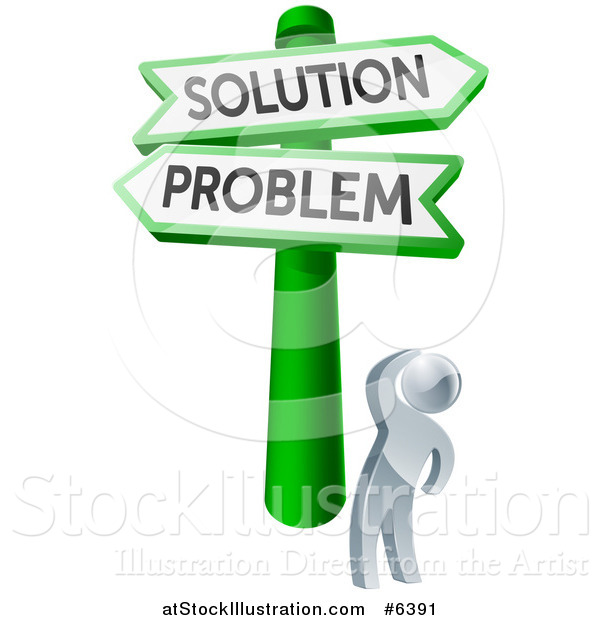 Vector Illustration of a 3d Silver Man Looking up at Problem and Solution Crossroads Signs