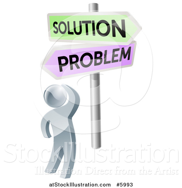 Vector Illustration of a 3d Silver Man Looking up at Problem and Solution Signs