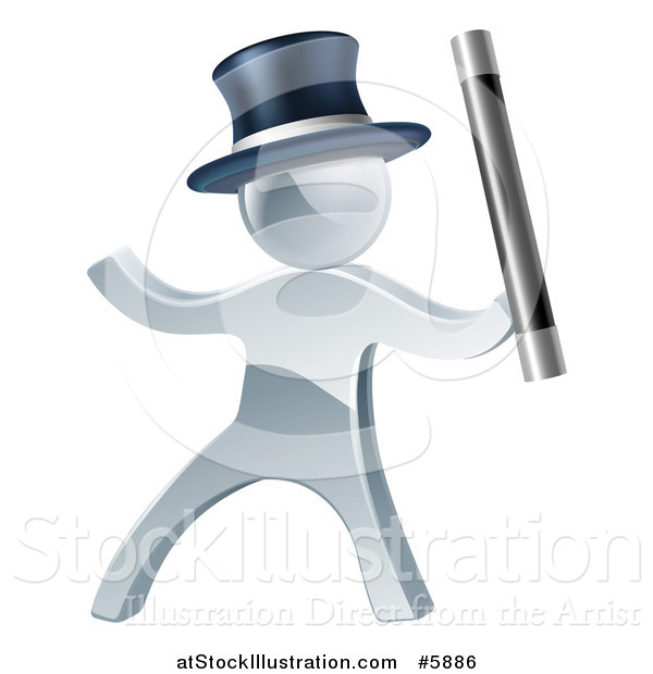 Vector Illustration of a 3d Silver Man Magician Using a Baton Wand