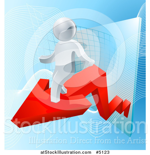 Vector Illustration of a 3d Silver Man on a Red Arrow over Blue and a Chart